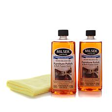Milsek Orange Oil Wood Cleaner & Polish 2pk with Cloth