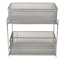 Attirant Mind Reader 2 Tier Metal Storage Basket Organizer