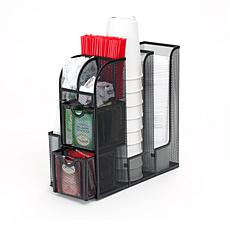 Mind Reader Black Metal Mesh Coffee Condiment Organizer