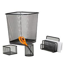 Mind Reader Metal Mesh 4-piece Desk Organizer Set