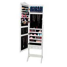 Mind Reader Standing Jewelry Cabinet with Mirror & 14 LED Lights