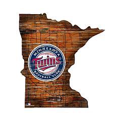 "Minnesota Twins 24"" Distressed State w/Logo"