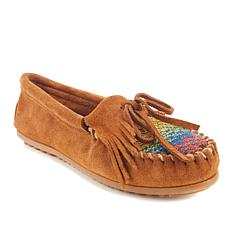 Minnetonka Cordova Kilty Suede and Fabric Moccasin