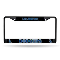MLB Black Laser-Cut Chrome License Plate Frame -  Dodgers