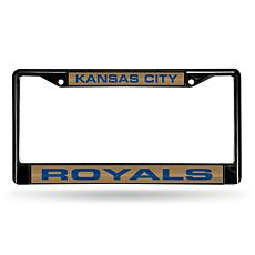 MLB Black Laser-Cut Chrome License Plate Frame - Royals