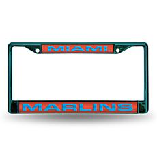 MLB Colored Laser-Cut Chrome License Plate Frame -  Marlins