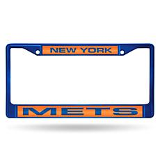 MLB Colored Laser-Cut Chrome License Plate Frame -  Mets