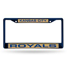 MLB Colored Laser-Cut Chrome License Plate Frame -  Royals