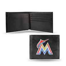 MLB Embroidered Leather Billfold - Marlins
