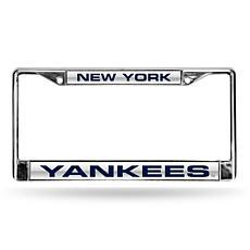 MLB Laser-Cut Chrome License Plate Frame - Yankees