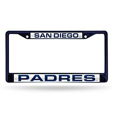 MLB Navy Laser-Cut Chrome License Plate Frame -  Padres