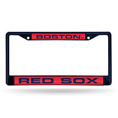 MLB Navy Laser-Cut Chrome License Plate Frame -  Red Sox