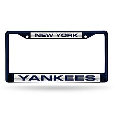 MLB Navy Laser-Cut Chrome License Plate Frame -  Yankees