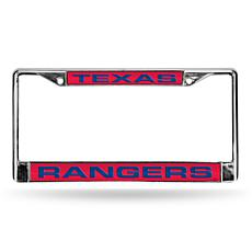 MLB Red Laser-Cut Chrome License Plate Frame - Rangers