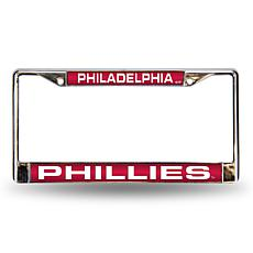 MLB Red/White Laser-Cut Chrome License Plate Frame - Phillies