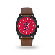 "MLB Sparo ""Knight"" Faux Leather Watch - Angels"
