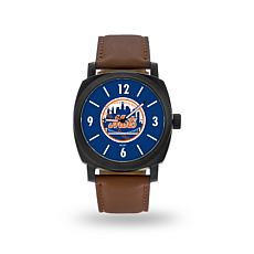"MLB Sparo ""Knight"" Faux Leather Watch - Mets"