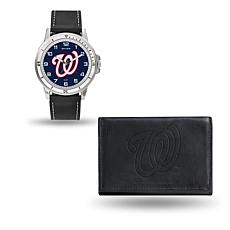 MLB Team Logo Watch and Wallet Combo Gift Set in Black - Nationals