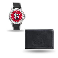 MLB Team Logo Watch and Wallet Combo Gift Set in Black - Cardinals