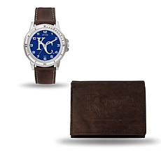 MLB Team Logo Watch and Wallet Combo Gift Set in Brown - Royals