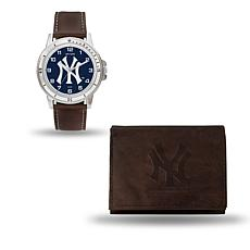 MLB Team Logo Watch and Wallet Combo Gift Set in Brown - Yankees