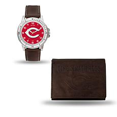 MLB Team Logo Watch and Wallet Combo Gift Set in Brown - Reds
