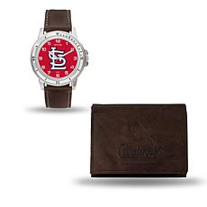 MLB Team Logo Watch and Wallet Combo Gift Set in Brown - Cardinals