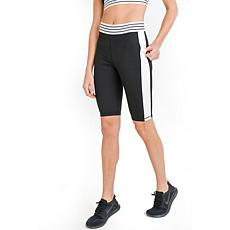 Mono B Black Highwaist Colorblock Striped Band Active Shorts