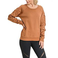 Mono B Garment-Dye Lace-Sleeve Fleece Sweater