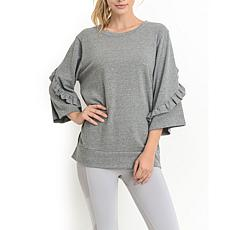 Mono B Ruffled Detail Sleeve Casual Top