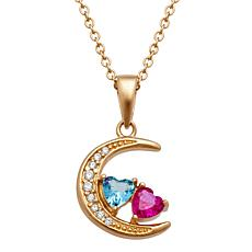 Moon & Hearts Birthstone Crystal & CZ Pendant with Chain