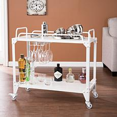 Mortynsville Mobile Bar Cart - Industrial Style - Distressed White