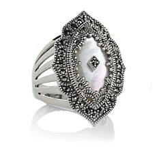 Mother of Pearl and Marcasite Overlay Silver Ring