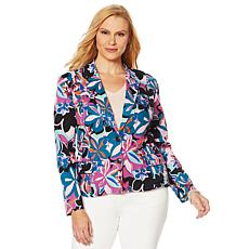Motto Button-Front Stretch Sateen Blazer