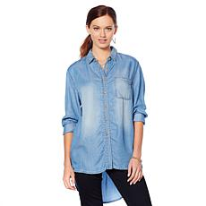 Motto Chambray Button-Down Boyfriend Shirt