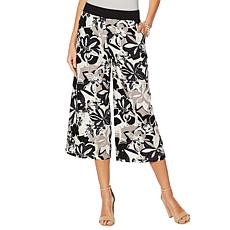 Motto Linen-Blend Pull-On Wide-Leg Pant