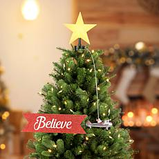Mr. Christmas Animated Santa in Biplane with Banner Tree Topper