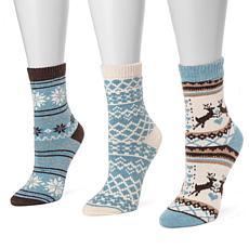 MUK LUKS 3-pair Holiday Boot Socks