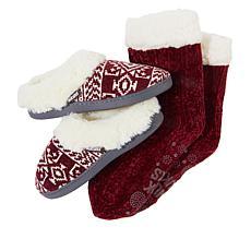 MUK LUKS Slipper and Chenille Cabin Sock Set