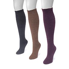 MUK LUKS Women's 3-pack Fuzzy Yarn Knee-High Socks