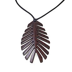 N Natori Acacia Wood Palm Leaf Necklace