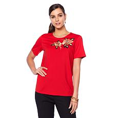 N Natori Embroidered Double Knit Top