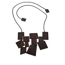 "N Natori Geometric Acacia Wood 18"" Necklace"