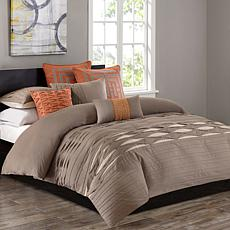 N Natori Nara Cotton Duvet Cover & Shams- Queen/Neutral