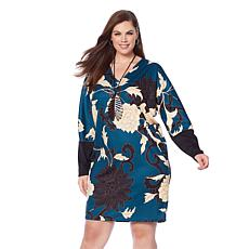 N Natori Printed Double Knit Tunic Dress