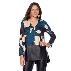 N Natori Printed Double Knit Tunic  with Faux Leather Trim