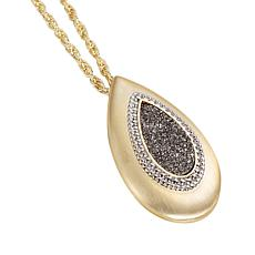 "Natalie Wood Designs 33"" Drusy Teardrop Pendant Necklace"