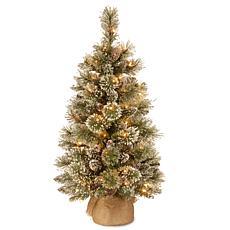 National Tree 3' Glittery Bristle Pine Burlap Tree with 35 LED Lights