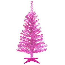 National Tree 3' Pink Tinsel Tree with Plastic Stand