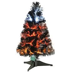 National Tree Company 2' Black Fiber Optic Tree w/ Candy Corn Lights